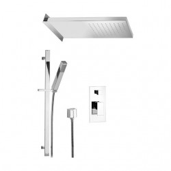 Shower kit with rectangular shower head, sliding rail and mixer with diverter Skyline SK614ZSS