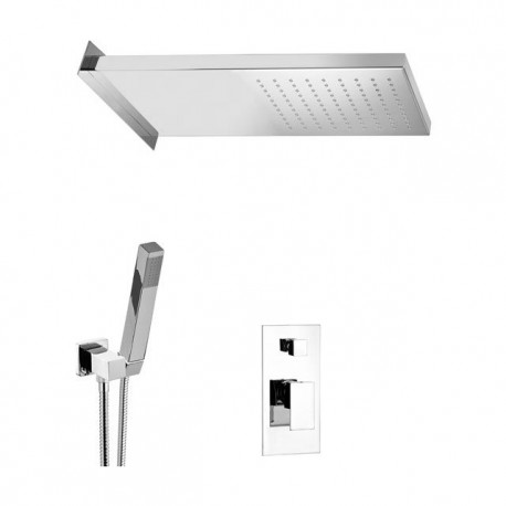Shower kit with rectangular shower head,hand shower and mixer with diverter Skyline SK615ZSS