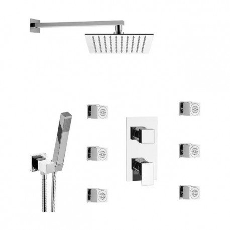 Shower kit with shower head, duplex, body jets and mixer with diverter Skyline SK616Z79