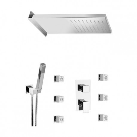 Shower kit with rectangular shower head, body jets, hand shower and mixer with diverter Skyline SK616ZSS