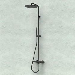 Shower column with thermostatic mixer and round shower head Ø 280 mm Cosmo Black & White Line Bossini L10092