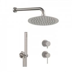 Shower kit with ultra slim shower head, handshower and mixer with diverter Tokyo Steel Daniel Rubinetterie SSTX615ZD2P78