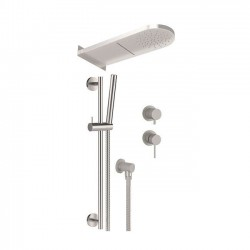 Shower kit with shower head 2 functions, sliding rail and mixer with diverter Tokyo Steel Daniel Rubinetterie SSTX614ZPSSCA