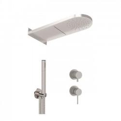 Shower kit with shower head 2 functions, handshower and mixer with diverter Tokyo Steel Daniel Rubinetterie SSTX615ZPSSCA
