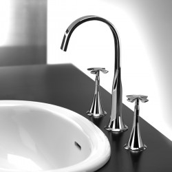 3-hole washbasin mixer with spout and pop-up waste Lucrezia Fratelli Frattini 62068