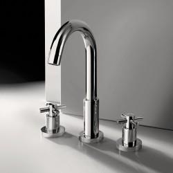 3-hole washbasin mixer with swivel spout and pop-up waste Tesis Fratelli Frattini 51068