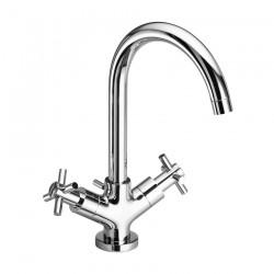 Single hole washbasin mixer with swivel spout and pop-up waste Tesis Fratelli Frattini 51064