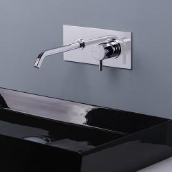 Reverso rubinetto lavabo incasso con placca e bocca d'erogazione lunga Q0BA6014SX