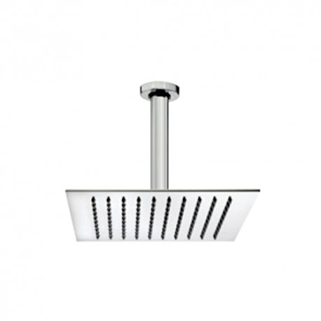 Square stainless steel shower head with vertical shower arm Tetis Bossini H3087