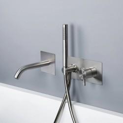 Diametro35 Inox rubinetto monocomando vasca incasso con bocca d'erogazione flessa E0BA0438CINOX