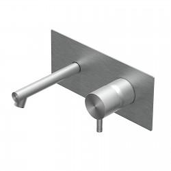 Diametro35 Inox rubinetto lavabo a parete con bocca d'erogazione dritta e placca E0BA0113DINOX