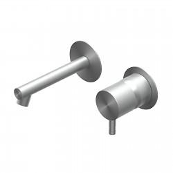 Diametro35 Inox rubinetto lavabo incasso con bocca d'erogazione dritta senza placca E0BA0113SPDINOX