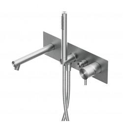 Diametro35 Inox rubinetto miscelatore per vasca a parete con bocca d'erogazione dritta E0BA0438DINOX