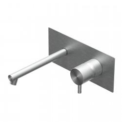 Diametro35 Inox rubinetto lavabo incasso con bocca d'erogazione dritta mm 200 e placca E0BA0114DINOX