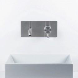 Diametro35 Inox rubinetto lavabo incasso con bocca d'erogazione flessa e placca E0BA0113CINOX