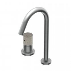 Diametro35 Inox Concrete  batteria lavabo 2 fori con bocca d'erogazione alta