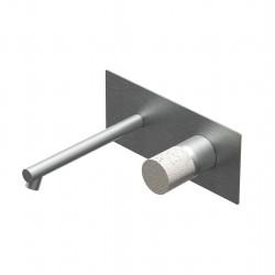 Diametro35 Inox Concrete  rubinetto lavabo incasso con bocca d'erogazione dritta
